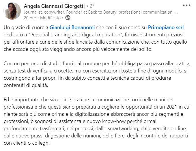 recensione Angela Giannessi